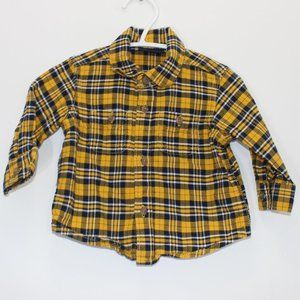 THE CHILDREN'S PLACE Navy and Yellow Button Up 3-6